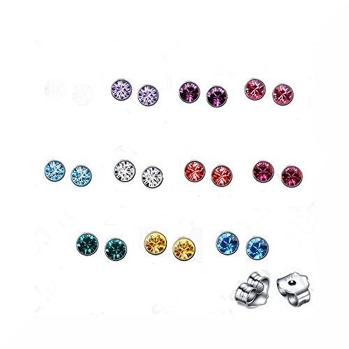 Farbige Kristall-Ohrstecker für gepiercte Ohren mit Steckverschluss, 10Paar, jeweils 2 Stück in einer von zehn verschiedenen Farben