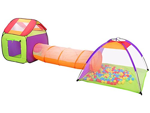 ISO TRADE Kinder Spielzelt 3in1 Haus+Tunnel+Zelt inkl. 200 Bunte Bälle Dach Fenster Transparent 2881