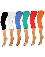 1 bis 6 Stück Damen Capri Leggings im 2er Pack - versch. Farben - 89660 - sockenkauf24