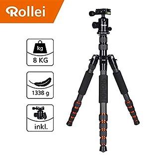 Rollei Traveler Carbon Stativ I Schwarz I Kamera-Stativ I Reisestativ mit Kugelkopf inkl Monopod Arca-Swiss Schnellwechselplatte Stativtasche 148.5 cm