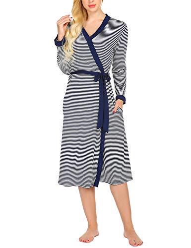 Preisvergleich Produktbild MAXMODA Damen Kimono Nachthemd Nachtwäsche Langer Damen morgenmantel Leichter Bademantel Nachtmantel Damen Umstandsnachthemd Unterwäsche mit Gürtel YDF2 XL
