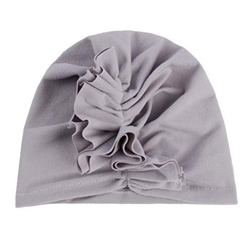 LABIUO Baby Mütze, Weichen Niedlichen Turban Hut Elastisches Stirnband Mütze Hijab Cap Sechs Farben Wählen(Grau,Freie Größe) -