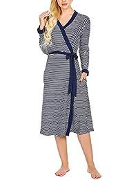 MAXMODA Damen morgenmantel Lang Kimono mit V Ausschnitt Nachthemd Nachtwäsche Robe Dünner Bademantel Nachtmantel Damen mit Gürtel Saunamantel Frottee S-XXL