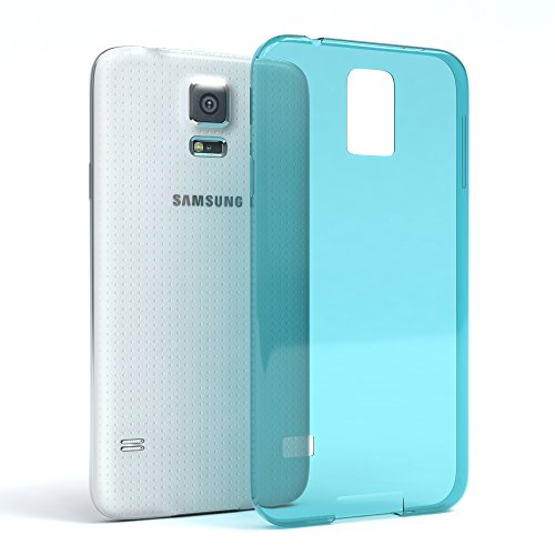 """EAZY CASE Handyhülle für Samsung Galaxy S5 / S5 LTE+ / S5 Duos / S5 Neo Hülle - Premium Handy Schutzhülle Slimcover """"Brushed"""" Aluminium Design - Silikon Backcover in brushed Weiß Clear Hellblau"""