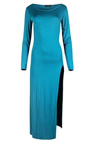Damen Basic Langärmliges Midi-kleid Damen Einfarbig Hoch Doppelseitig Schlitz Hülle Top Übergröße UK 8-22 Türkis