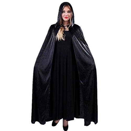 QBSM Damen Halloween Hexe Samt mit Kapuze Umhang Kostüme (Velvet Black Kostüme Hexe)