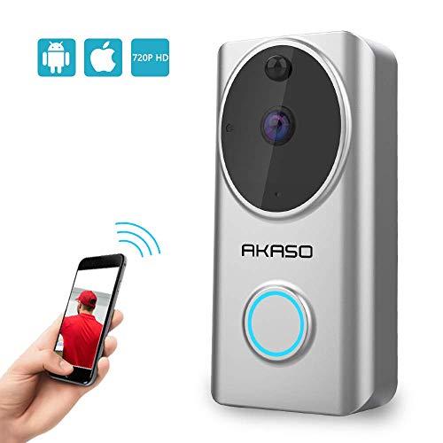 Akaso wireless video campanello senza fili videocitofono 720p hd wifi funziona con alexa,audio bidirezionale,pir rilevazione del movimento,visione notturna,video in tempo reale,archiviazione cloud