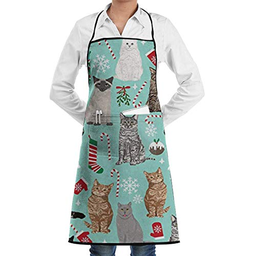 Christmas Cat Candy Cane Stocking Grill Aprons Kitchen Chef Bib - Professional for BBQ Baking Cooking for Men Women Pockets Mens Chef Apron