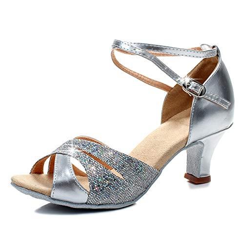 YFCH Damen Modern Standard & Latein Schuhe Tanzschuhe Peep-Toe Tanz Schuhe Sandalen Pumps mit 5CM Absatz, Silber, 39/39.5 EU(Label: 41)