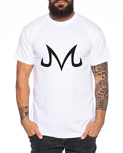 WhyKiki Majin Zeichen von Boo Dragonball Nerd Herren T-Shirt in Verschiedenen Farben, Farbe:Weiss;Größe:XL