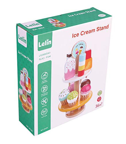 Lelin 10 pcs Wooden Ice Cream Stand Pretend Play Kitchen Food Toy Set - Set of Pretend Food Ice Creams & Stand