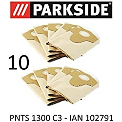 10Sacs d'aspirateur Parkside - 20 L PNTS 1300- ColorisMarron 906-05- Pour aspirateur sec/humide