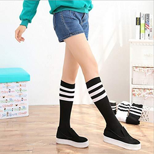 XIAOL Home Japanischer Frühling und Sommer Sport Baumwolle Socken in der Röhre Socken weiblichen gestreiften Fußball Radfahren Socken Studenten Langen Schlauch einfarbig schweißabsorbierend kurz -