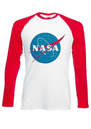 Nasa National Space Administration Logo Red/White Men Women Unisex Long Sleeve Baseball T Shirt-L