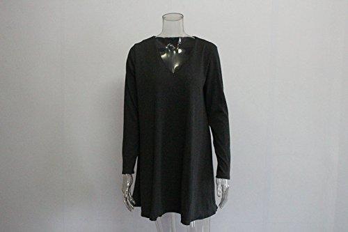 Minetom Femme Chemise Manches Longue Slim Mini Robe T-Shirt Tops Haut Blouse Casual Chemise Robe Pur Long T-shirt Gris