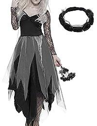 Yudanwin ☼ Un Regalo Perfetto Costumi di Halloween Vestito da cadavere da  Sposa Vestito da cadavere da Travestimento Abiti da Sera in… f59f3936cd6b