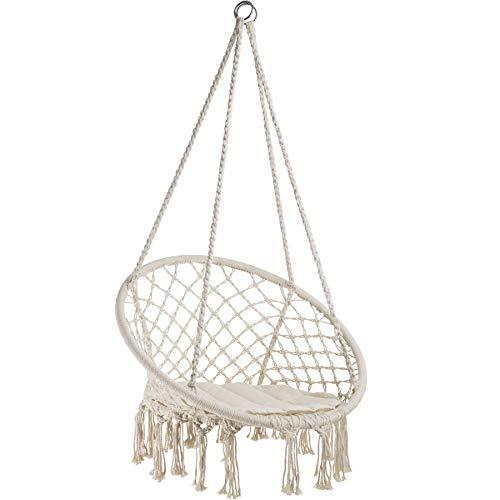 tectake 800689 - Hamac Chaise Suspendu Design 1 Personne, Intérieur extérieur, Coussin d'Assise Inclus - Plusieurs Couleurs - (Beige | no. 403117-2)