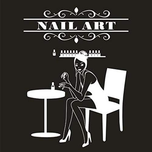 Aizaixinli Nagel Wandaufkleber Nagel Bar Grill Schönheitssalon Wandkunst Aufkleber Logo Nail Art Nail Shop Fensterglas Dekoration 86 * 108 Cm