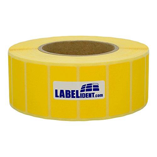 Labelident permanent haftende Thermo Etiketten - 57 x 32 mm - unbeschichtetes Papier, gelb matt, Trägerperforation, 4200 Thermodirekt-Etiketten auf Rolle mit 76 mm (3 Zoll) Kern