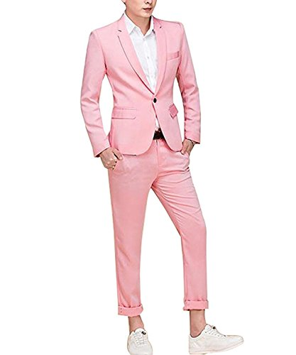 Kleid Männer Jacke (YSMO Herren Pink One Button 2 Stück Smoking Blazer Kleid Anzüge Jacke mit Hosen)