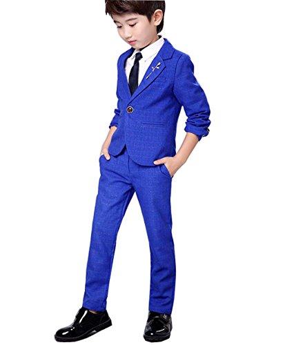 Jungen Anzug Smoking 2 Stück Zwei-Knopf-Klage-Set Jacke und Hose (160cm, Blau) (2-knopf-smoking)