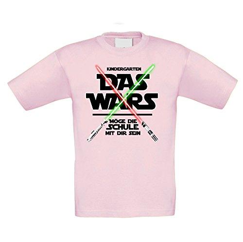 Shirt Department - Kinder T-Shirt - Kindergarten - Das Wars - Möge die Schule mit Mir Sein rosa-schwarz 122-128