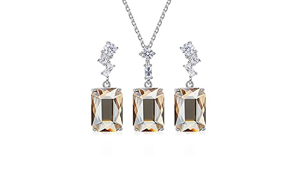 Gnzoe Jewelry Set Women Ladies 925 Sterling Silver Earring and Necklace Set Radiant Gold 40+5Cm