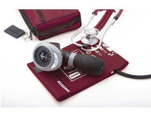 ADC 788-641-11und Pro 's Combo I Erwachsene Palm Aneroid/Scope-Kit mit prosphyg Blutdruckmessgerät und Sprague Stethoskop, Burgund -