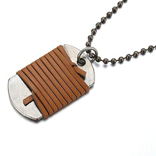 Epinki Unisex Anhänger, Edelstahl Dog Tag Halskette Edelstahlanhänger Statementkette 30*50MM