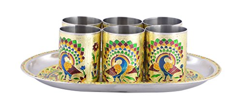 RAJKRUTI Handicraft Rajasthani Meena Worked Stainless Steel Serving Tray Set For Utility And Table Decor, Home Decor (1 Serving Trays , 6 Glass)