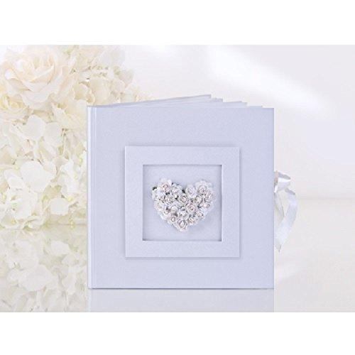 Weiße Rosen-Herz-Hochzeits-Gast-Buch (Toy Parade Rose)