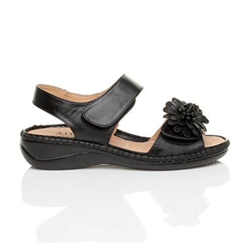 Femmes velcro strappy une fleur confortables décontractées sandales pointure Noir