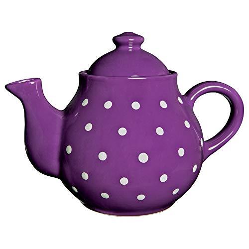 Ciudad a Cottage lunares grande 1,7L/60oz/4–6taza tetera de cerámica hecho a mano pintado a mano (púrpura y blanco)