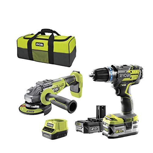 Pack brushless perceuse-visseuse à percussion RYOBI 18V OnePlus R18PDBL - Meuleuse d'angle 125 mm 18V OnePlus R18AG7-0 - 2 batteries - chargeur rapide R18CK2BL-252S