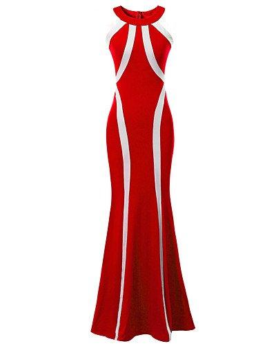 PU&PU Robe Aux femmes Swing Soirée , Rayé / Couleur Pleine Licou Maxi Acrylique / Polyester / Spandex / Mélanges de Coton BLACK-M