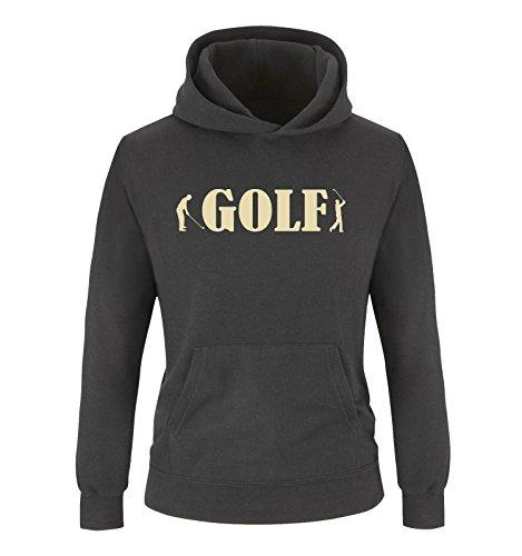 Comedy-Shirts GOLF - Zwei Spieler - Mädchen Hoodie - Schwarz/Beige Gr. 98/104