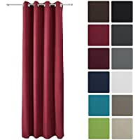 Beautissu® Tenda termica con occhielli serie Amelie - 140x245 cm rosso - tenda isolante e anti-sguardi indiscreti