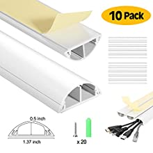 Cable Trunking, AGPtEK On-Wall Cord Cover 40 cm Cable Management Channel to Conceal Cords, Cables or Wires, Channel Cord Cover with Adhesive Tapes and 20 Screws