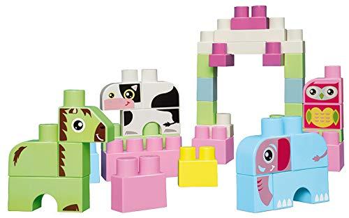 Jouets Ecoiffier -7780 - Baril rose + briques à empiler Animaux Abrick Maxi - Jeu de construction pour enfants - 50 pièces - Dès 12 mois - Fabriqué en France