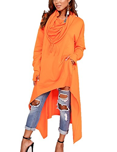 Minetom Mujer Casual Sudadera Con Capucha De Manga Larga Elegante Suelto Camisa Larga Color Sólido Blusa Tops Outwear Naranja ES 42