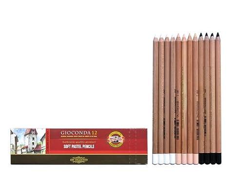 Pastellstifte 12er Hautfarben + Weiss + Schwarz Pastellkreide Stifte Set für Künstler von KOH-I-NOOR - exclusiv farbig sortierte Pastell Farbstifte Zeichenstifte