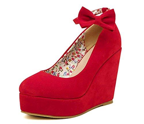 Wealsex Escarpins Compensée Plateforme Femme Suédé Nœud Bride Cheville Boucle Chaussure Mariage Rouge