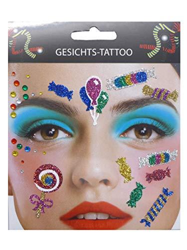 Lollipop Kostüm - Gesichts Tattoo Face Art Halloween Karneval Kamelle/Candy
