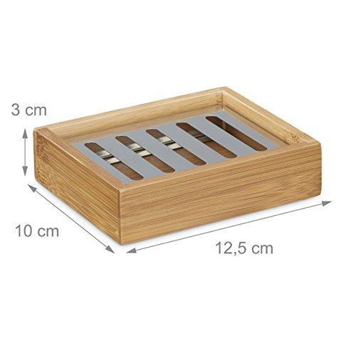 Jabonera rectangular de bambú Relaxdays, rejilla de acero inoxidable, higiénica: 3 x 12,5 x 10 cm, natural