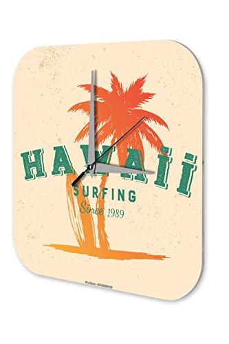 LEotiE SINCE 2004 Wanduhr mit geräuschlosem Uhrwerk Dekouhr Küchenuhr Baduhr Sport Hawaii Surfing Deko Wand Uhr Vintage Retro