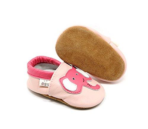Goldore 100% echtes Leder weichbesohlte Neugeborene Kleinkind -Säuglingsrutschfeste Schuhe Vor-Wanderer 0-2 Jahre (XL, Küken Marine) Elefanten rosa