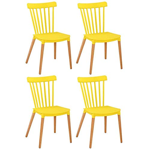 4Stück Stühle Umbauseiten Skandinavisches Design Iconic gelb matt Untergestell Eiche hell