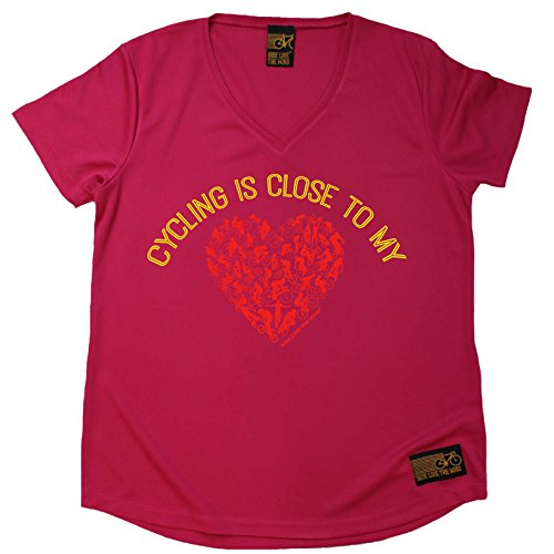Ladies Cycling Tee - Cycling is Close to My Heart - Breathable Top Bicycle Cycle Tee Gift Christmas Tshirt Sports Clothing T Shirt Dry Fit V Neck T-Shirt - Heart V-neck Tee