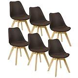 WOLTU® 6er Set Esszimmerstühle Küchenstuhl Design Stuhl Esszimmerstuhl Kunstleder Holz Braun BH29br-6