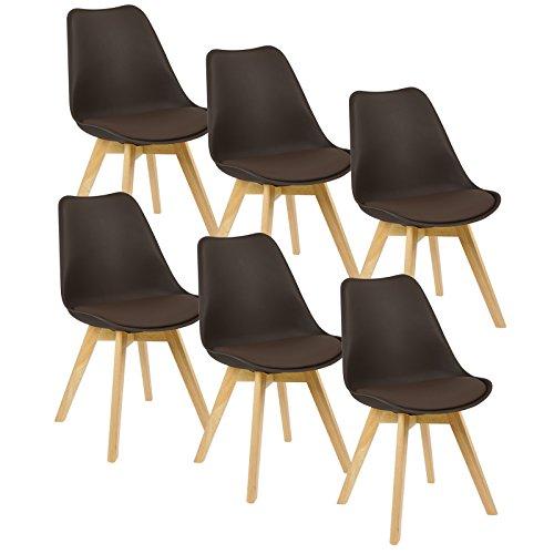 Braun Kunstleder Metall (WOLTU® 6er Set Esszimmerstühle Küchenstuhl Design Stuhl Esszimmerstuhl Kunstleder Holz Braun BH29br-6)